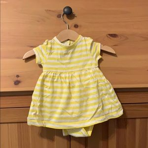 Yellow and white striped bodysuit dress